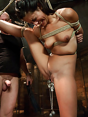 Flexible girl in tight bondage with suspension and dominating sex!