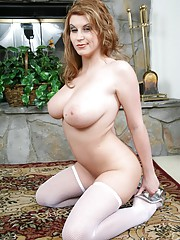 Sara Stone shows off her curves in cute lingerie and white stockings