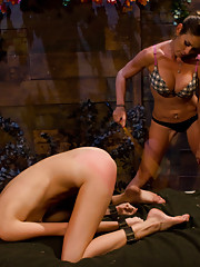 Two girlfriends camp overnight in a cabin far away, one goes crazy and they indulge in a night of heavy corporal punishment and rough lesbian sex!