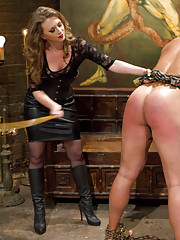 Mistress T canes a well endowed all muscle slave into submission and uses his cock for her pleasure and his tease and denial.