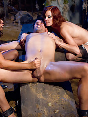 3 dominant bitches come back from the dead to haunt ex-boyfriend by humiliation, tease & denial, strap-on butt fucking & have aggressive sex with him.