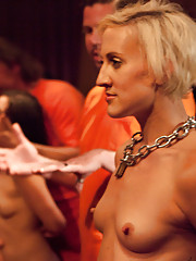 Once the girls have been probed, humiliated, and made the cum, they are thrown to The Steward and Derrick Pierce. Both sex slaves are thoroughly used.