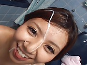 Erika Asian naked on the bath floor gets river of um on face