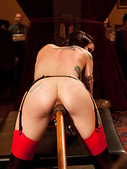 A cornucopia of sexy slaves and horny guests make use of the dining room and start fucking on the table while served by sexual slaves.