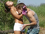 Dude loves fucking willing hot girls outdoors