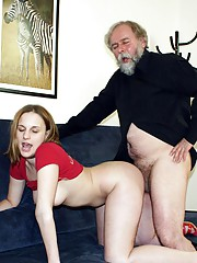 Horny old senior penetrates a younger girl
