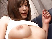 Kaho Kasumi Asian in sexy dress puts man hand right on her boob