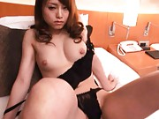 Akiho Yoshizawa in black sexy lingerie has boobies caressed