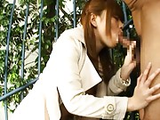 Japanese AV Model gives blowjob and has boobs fondled in garden