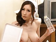 JULIA Asian nurse with huge tits and all nude is down on floor