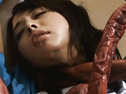 Yuka Osawa Asian has huge tentacles covering all of her sexy body