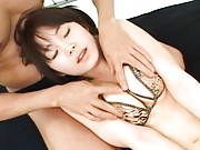 Saki Tsuji Asian has hooters and beaver caressed over lingerie