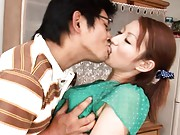 Reon Otowa Asian housewife gets nice tits felt up in kitchen