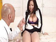 Anri Hoshizaki Asian gets sex toy on her huge jugs and on crack