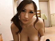 JULIA Asian nurse with big hooters takes care of fellow stiffy