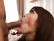 Kokomi Sakura Asian with cute outfit sucks tool next to her bed