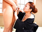 Marie Sugimoto Asian with big cans out of geisha dress sucks dick
