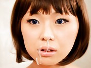 Maki Amemiya Asian is immobile doll receiving sperm on her face