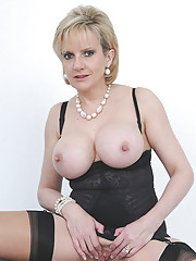 Black lingerie and nylons mega milf
