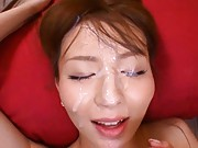Jessica Kisaki Asian sits with rivers of cum pouring on her face