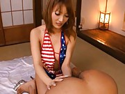 Kirara Asuka Asian in USA flag body like rubs boner from man back