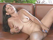 Camilia shows off her long perfect nipples as she masturbates with her blue toy
