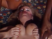 Horny hottie drilled by a group of many men