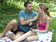 Teen in the woods pleasures cock of stranger