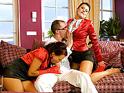 Horny fellow ejaculating on two willing babes