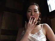 Mina Toujou Asian in white lingerie fondles her melons and crack