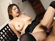 Alice Hoshi Asian with round tits is drilled with legs wide open