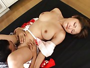 Alice Hoshi Asian with immense melons feels pleasure in vagina