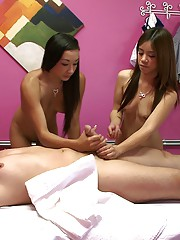 2 hot asian teens nailed hard in these massage parlor sex group sex pics