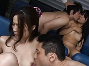 Risa Kasumi Asian has nipples licked and slit fingered by dudes