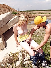 Busty blonde sucks and screws a stiff pecker