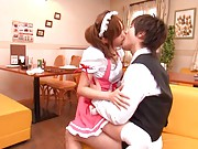 Emiri Senoo Asian pink like a Barbie doll is kissed by her Ken