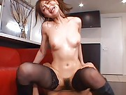 Akiho Yoshizawa rides phallus in stockings and with oiled body