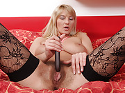 Hairy big tittied Anilos plays with her favorite toy