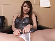 Akari Hoshino Asian spreads legs and shows white panty to camera