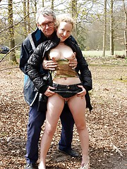 Horny old senior and burglar penetrating girl