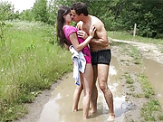 Chick fucking a stranger in the mud outdoors