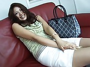 Aya Matsuki Asian in stockings bends to show behind in scanty