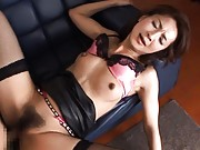Shihori Endoh Asian with black stockings and skirt gets fucked