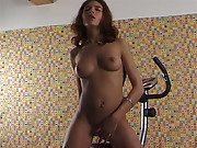 Brunette playing with tight cooch and fingers