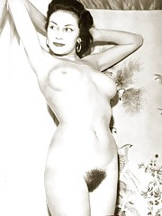Very hairy naked beauties posing in fifties
