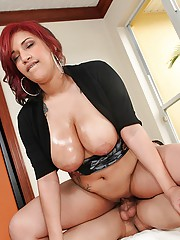 Hot ass red head big naturals babe pounded hard in these hot screaming sex