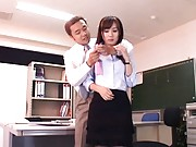 Reona Kanzaki Asian with tits in mauva bra is fondled at office