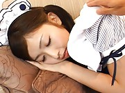 Japanese AV Model house keeper awaken to have feet massaged