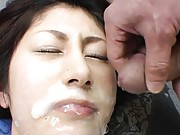 Mariko Shiraishi gets so much sperm on face right from phallus