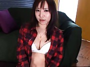 Ren Misaki Asian licks and eats the sperm she received on face
